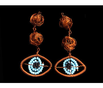TWO COPPER BEAD AND EVIL EYE EARRINGS