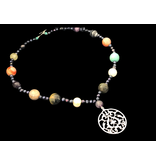 FLORAL ARABESQUE WITH MIXED GEMSTONES