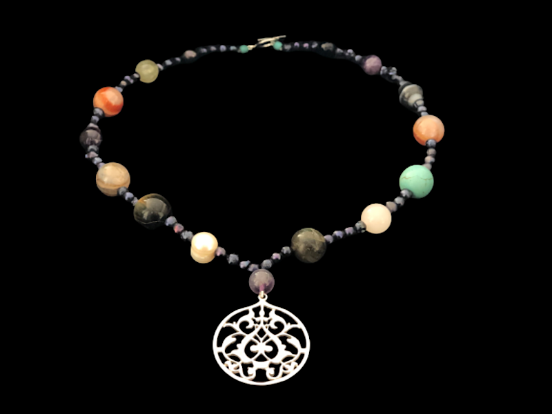 OVAL ARABESQUE WITH MIXED GEMSTONES