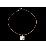 LEATHER NECKLACE WITH SQUARE LISAWFA PENDANT