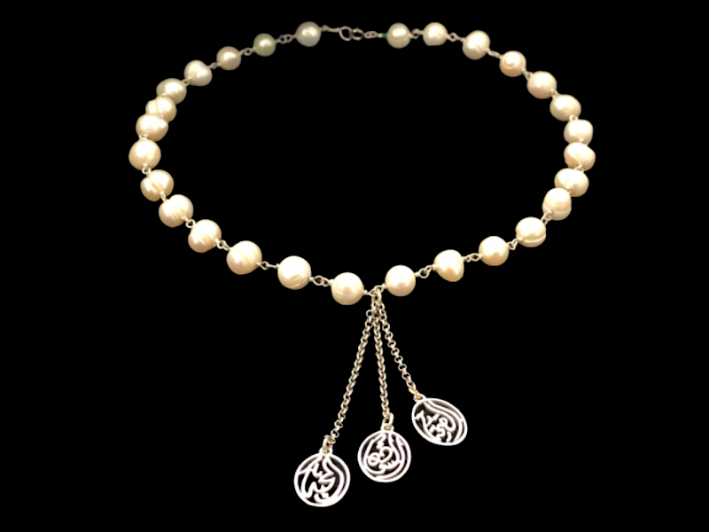 PEARL WIRE NECKLACEWITH TASSEL AND 3 SALAM WORDS
