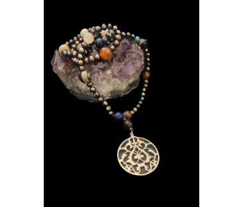 MIXED GEMSTONE LONG NECKLACE WITH FLORAL ARABESQUE PENDANT