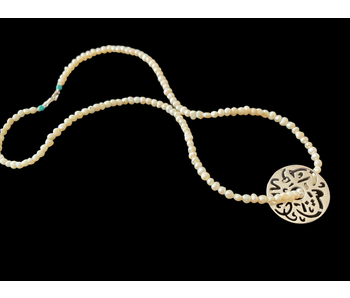 SMALL PEARL NECKLACE W MASHALLAH DISC