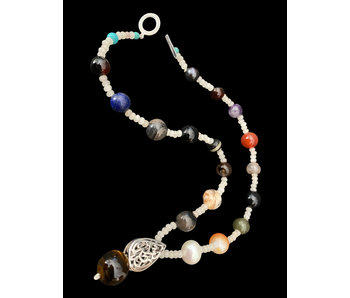 MIXED GEMSTONES WITH NIMA AFIA PENDANT AND DROP