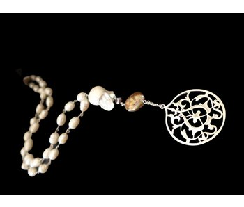 LONG PEARL NECKLACE WITH ARABESQUE PENDANT