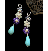 LARGE 3 FLOWER GEMSTONE EARRINGS WITH TURQUOISE DROP
