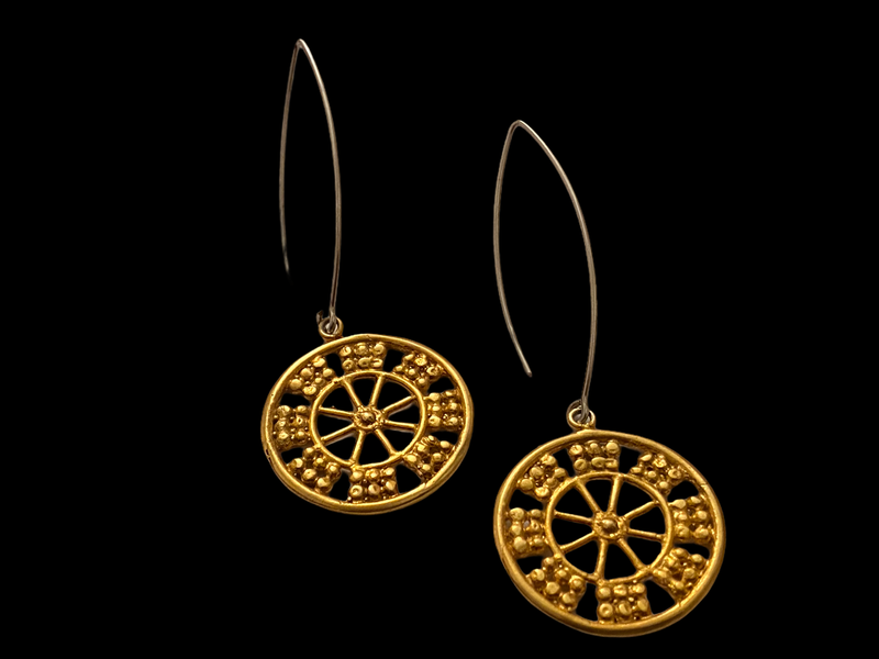 LONG OVAL EARRINGS WITH WHEEL OF FORTUNE