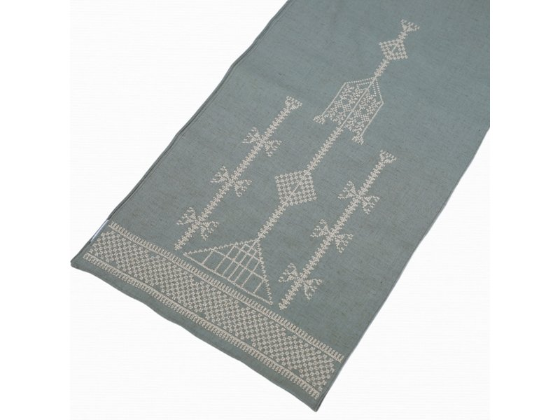 GREEN COTTON SCARF WITH BEIGE EMBROIDERY