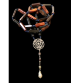 LONG HEXAGON AGATE NECKLACE WITH ARABESQUE & TASSEL