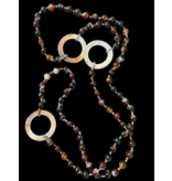 LONG BROWN AGATE NECKLACE WITH MOTHER OF PEARL