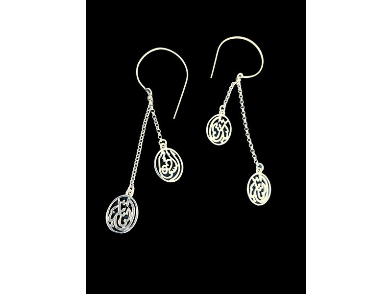 OVAL HOOP EARRINGS WITH CHAINS AND 2 WORDS