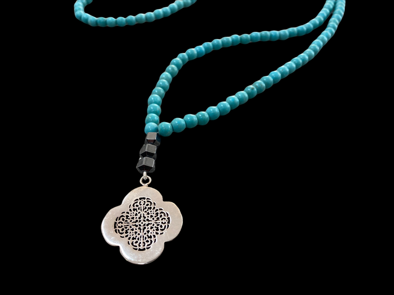 LONG TURQUOISE NECKLACE WITH SILVER CLOVER