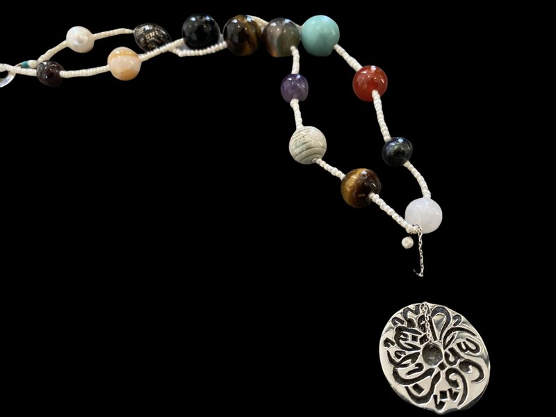 MIXED GEMSTONE NECKLACE WITH SMALL DISC
