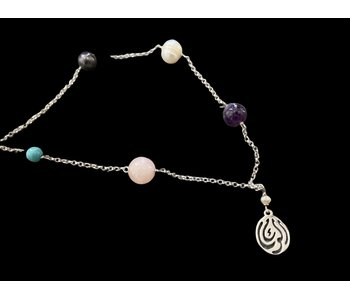 CHAIN NECKLACE WITH MIXED STONES AND SALAM WORD