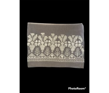GREY SCARF WITH GREY EMBROIDERY