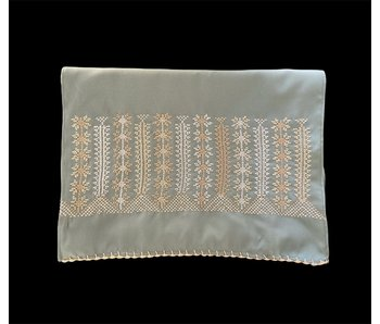 SMALL GREEN SCARF WITH CREAM & BEIGE