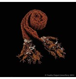 KNITTED BEAD COPPER SCARF NECKLACE WITH TASSELS