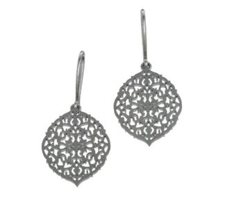 SILVER OVAL ARABESQUE EARRINGS WITH HOOK
