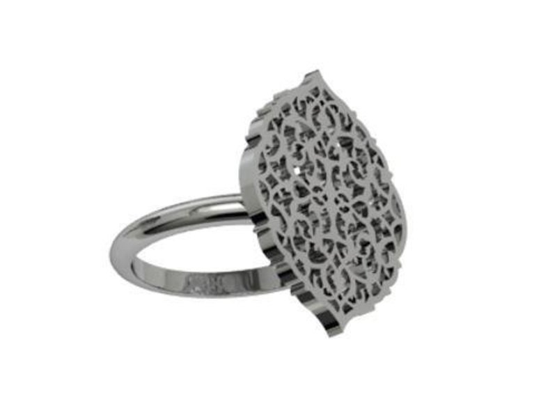 OVAL ARABESQUE RING SILVER