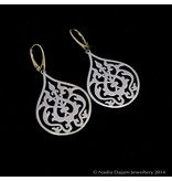 LARGE SILVER ARABESQUE ERG, 2-TONE, GP FRENCH CLASP