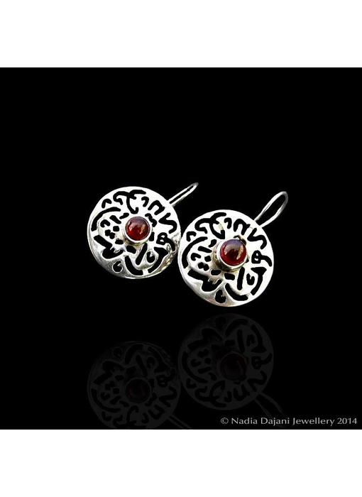 ROUND MASHALLAH EARRINGS CABOCHON CENTRE