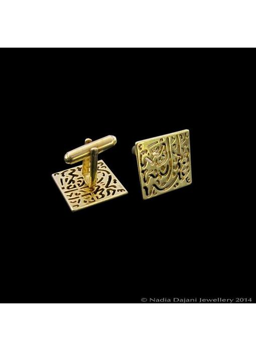 SQUARE NIMAH AFIA GOLD PLATED CUFFLINKS