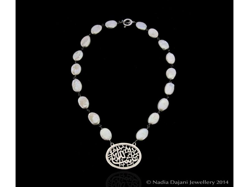 OVAL MASHAALLAH SILVER WITH PEARLS