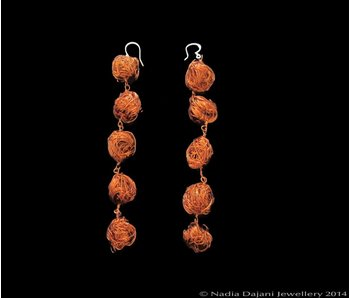 LONG STRAND COPPER BEAD EARRINGS