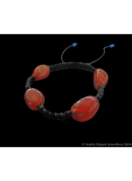 4-STONE AGATE BRACELET ON CORD