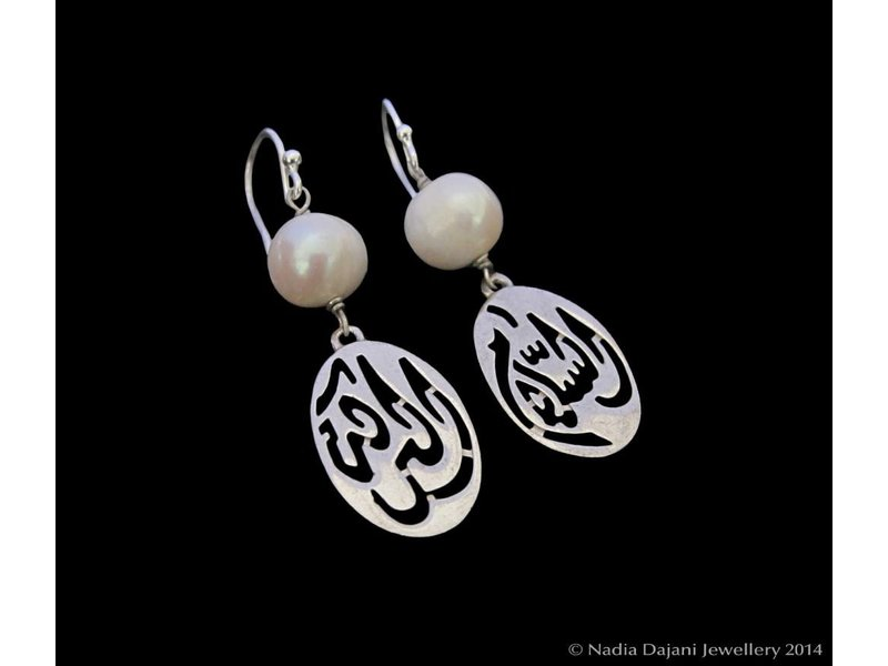 LARGE SILVER SALAM EARRING, PEARL ABOVE