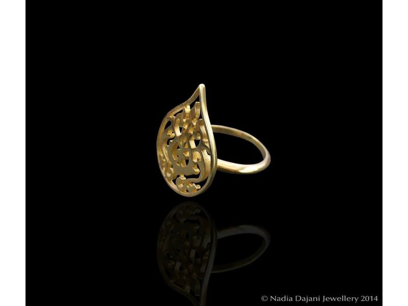 SILVER GOLD PLATED SMALL ARABESQUE RING