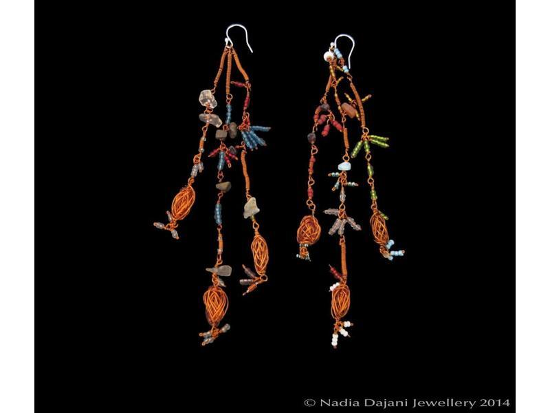 LONG COPPER WIRE SHOWER EARRINGS
