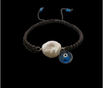 PEARL & EYE BRACELET ON CORD