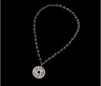 LONG NECKLACE, MEDIUM SILVER DISC
