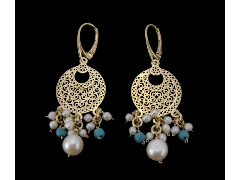 CRESCENT EARRINGS WITH MULTI GEMSTONES