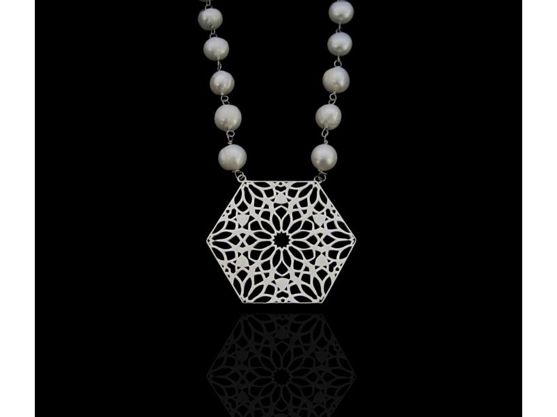 PEARLS AND A SILVER HEXAGON