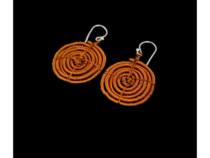 LARGE COPPER SWIRL EARRINGS