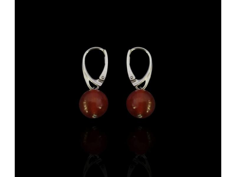 SINGLE GEMSTONE EARRINGS, FRENCH CLASP SILVER