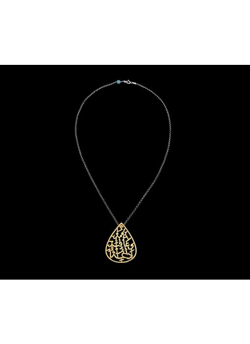 NIMAH TEAR DROP PENDANT GP NECKLACE ON SILVER CHAIN