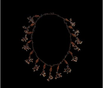 COPPER COLLAR NECKLACE WITH COPPER BEADS AND SMALL TASSELS