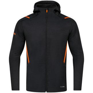 JAKO Vrijetijdsvest met kap Challenge Zwart-Fluo oranje