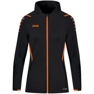 JAKO Jas met kap Challenge DAMES Zwart-Fluo oranje