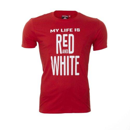 T-shirt 'My Life' rood - volwassenen