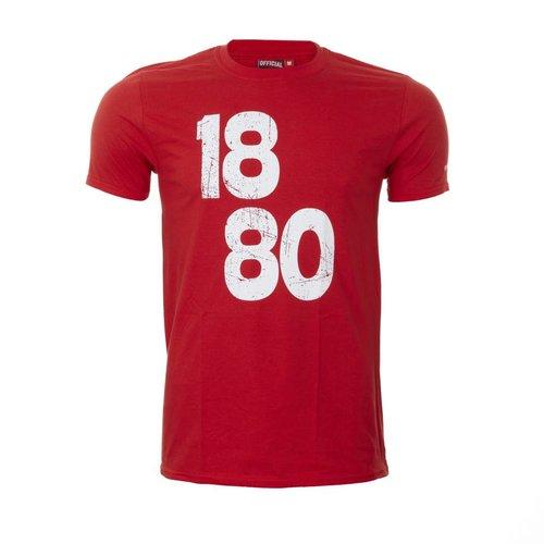 T-shirt '1880 vintage' rood - volwassenen