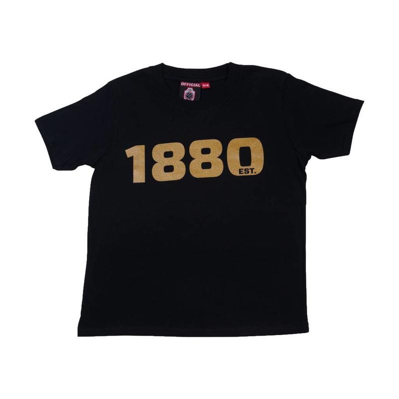 """Antwerp Official T-shirt - """"1880"""" - Zwart/Goud - Kids"""