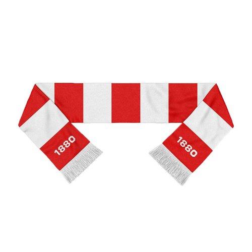 """Official Antwerp Official Sjaal - """"1880"""" - Rood/Wit Gestreept"""