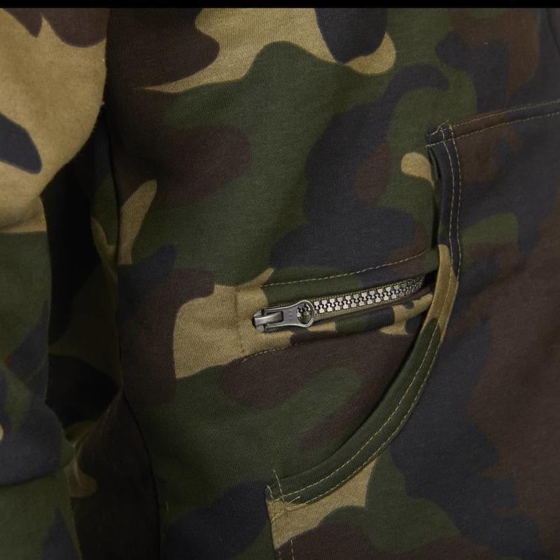 Hoodie met rits '1880' camouflage groen