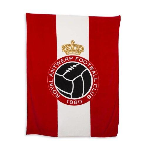 Official Luxe fleece deken 'Logo' rood/wit 150x200 cm