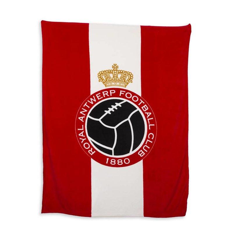 Luxe fleece deken 'Logo' rood/wit 150x200 cm