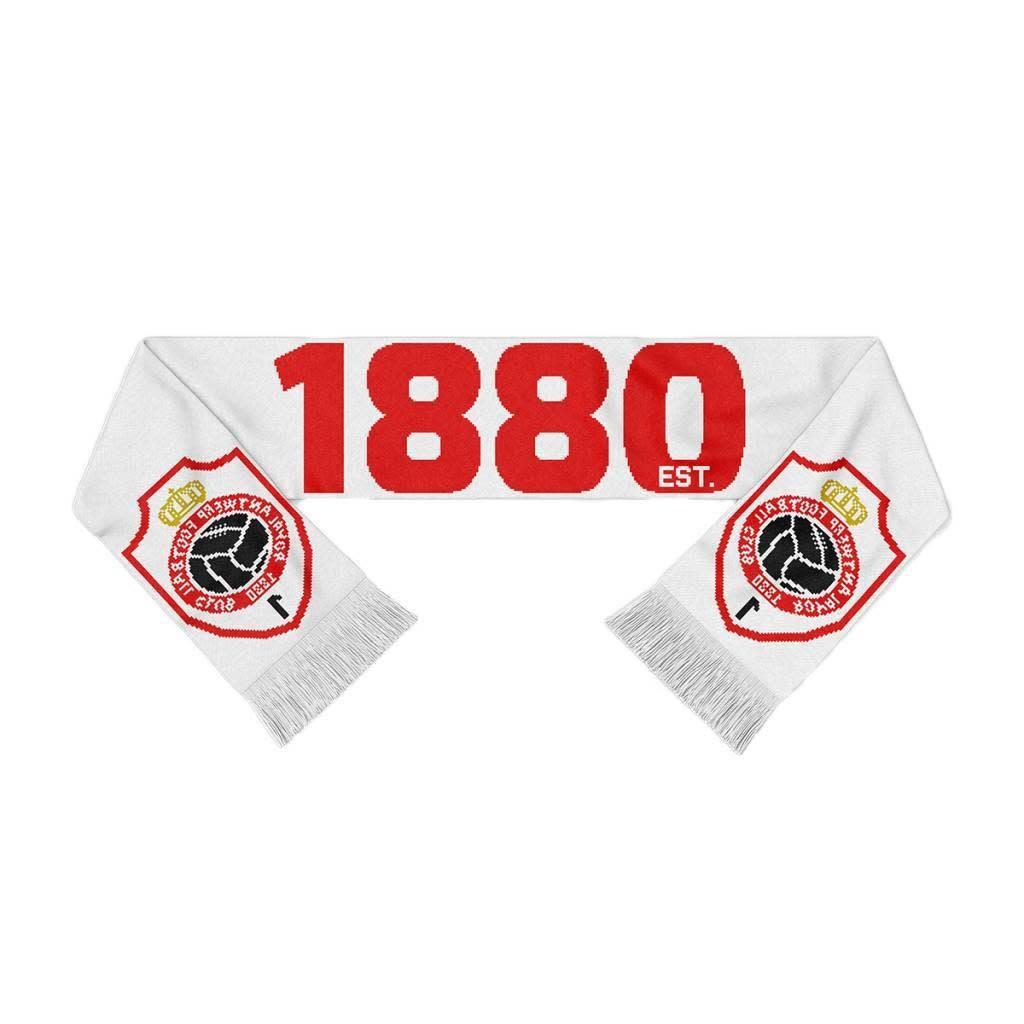RAFC Sjaal Gebreid - 1880 + Embleem - Wit/Rood-1
